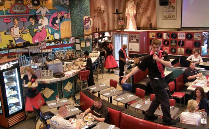 Нью-Йоркский ресторан с поющими официантами.