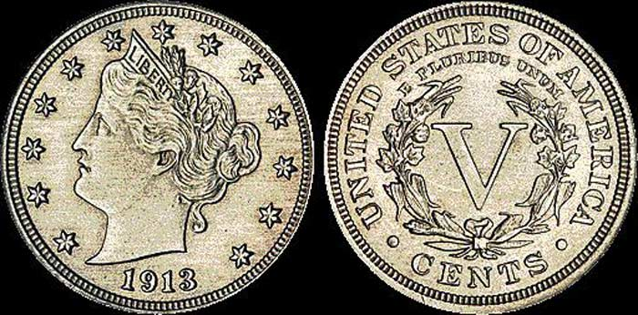 Монета Пять центов 1913 г.