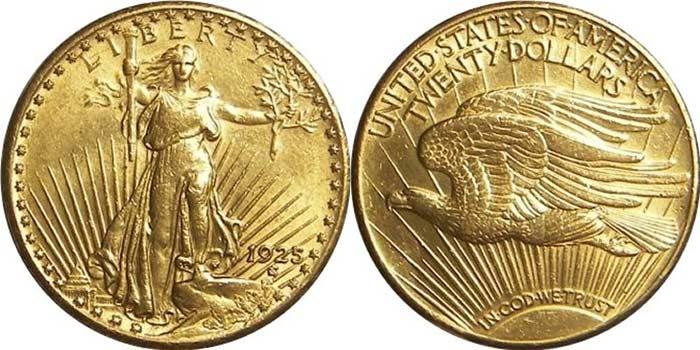 Монета Двойной Орел Сен-Годена 1907 - 1933 гг.