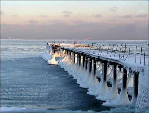 замёрзло Адриатическое море