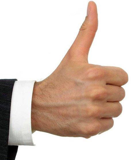 большой палец, поднятый вверх