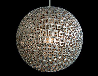 Лампа, люстра, абажур из колечек от алюминиевых банок