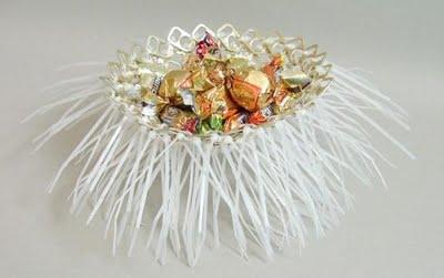 Конфетница из колечек от алюминиевых банок