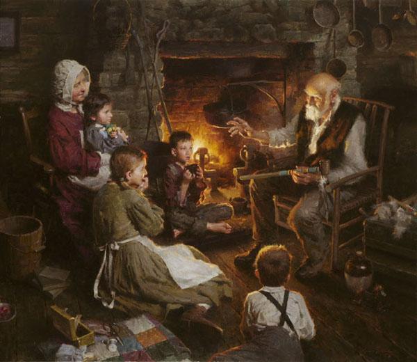 Семья у камина