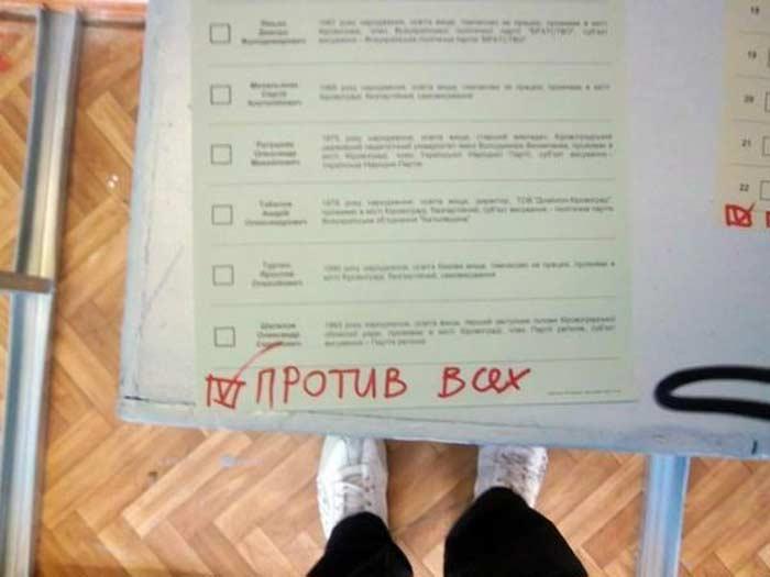 Выборы 2012, испорченные бюлетни. Против Всех
