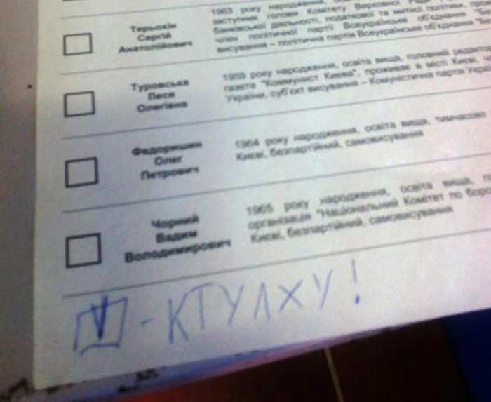 Выборы 2012, испорченные бюлетни. Ктулху