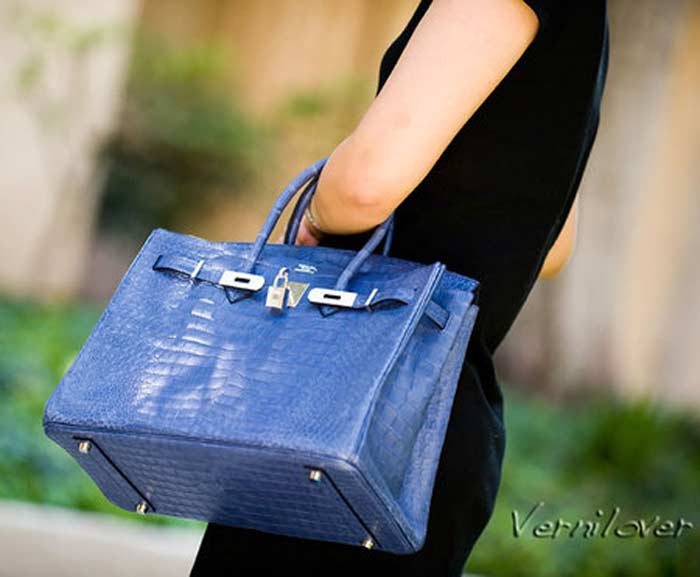 Matte Brighton Blue Porosus Crocodile Birkin Bag