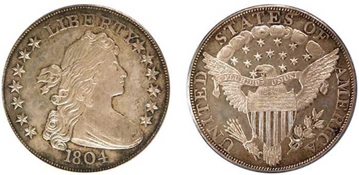 Монета Серебряный доллар I класса 1834 г.